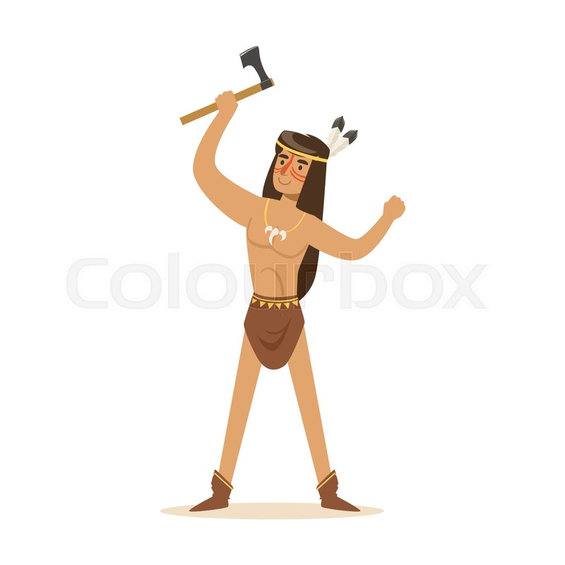 800x800 Native American Indian In Loincloth Standing With Tomahawk Vector