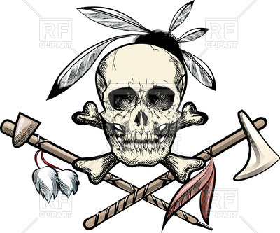 400x333 Skull With Feathers,tomahawk And Smoking Pipe Vector Image