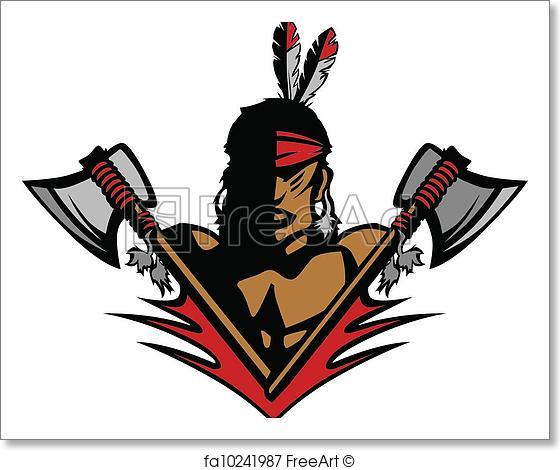 560x470 Free Art Print Of Indian Brave Mascot Head Vector Graphic. Graphic