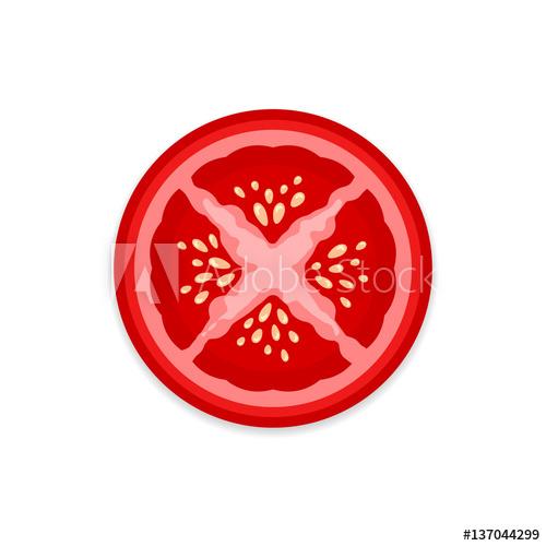 500x500 Fresh Ripe Tomato Slice Vector Icon On White Background