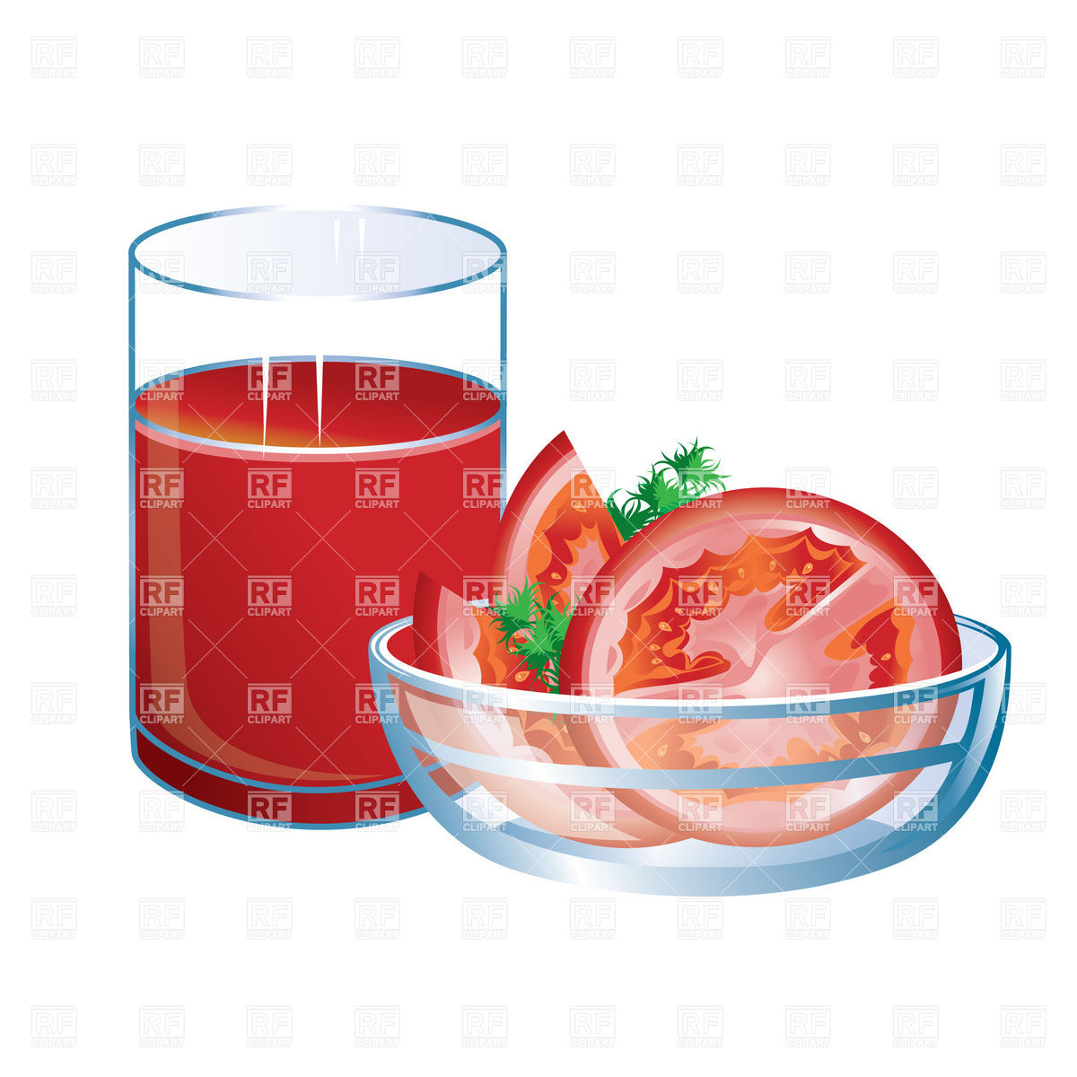 1200x1200 Glass Of Tomato Juice And Slices Vector Image Vector Artwork Of