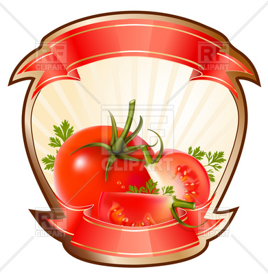 391x400 Label For A Product (Ketchup, Sauce) With Tomatoes Vector Image