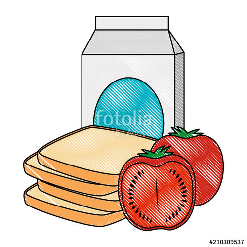 500x500 Milk Box Pack With Tomato Vector Illustration Design Stock Image
