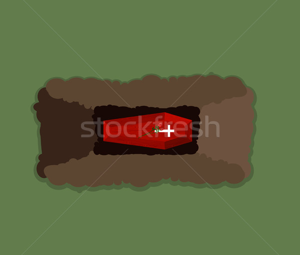 600x511 Open Grave. Coffin In Pit. Flowers Roses On Roof Of Tomb. Vector