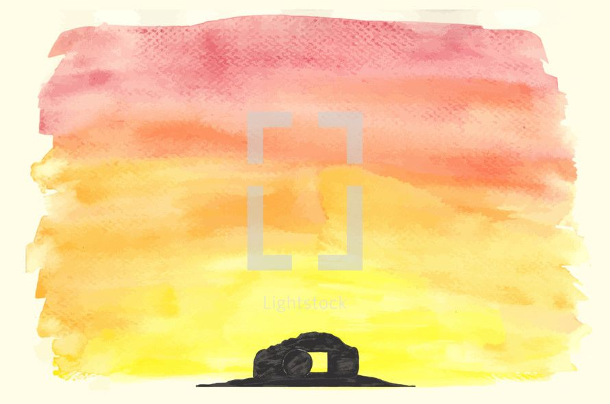 890x590 Vector Watercolor Of The Empty Tomb. The Tomb, Hill And Sunrise