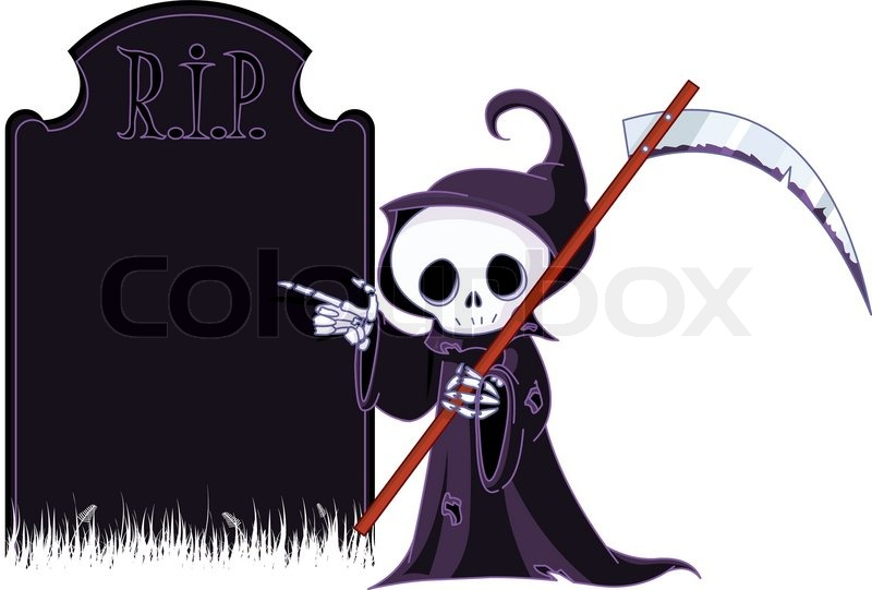 800x541 Grim Reaper With Scythe Is Pointing To Tombstone. Stock Vector