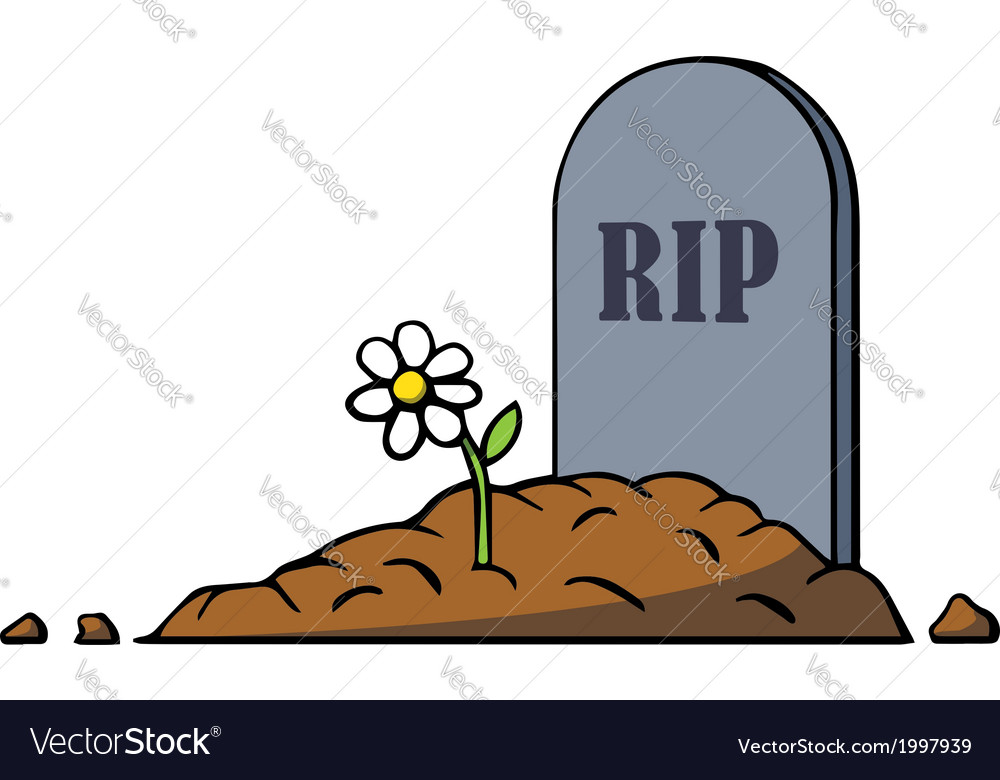 1000x780 Cartoon Grave With Tombstone And Flower Royalty Free Vector