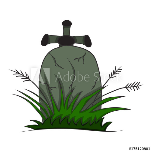 500x500 Image With A Tombstone. Vector Illustration Of A Halloween Theme