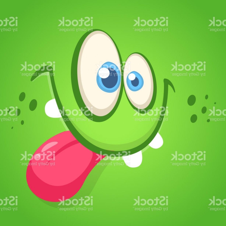 1228x1228 Funny Cartoon Monster Face Showing Tongue Vector Halloween Green