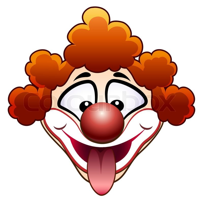 800x800 Illustration Of Red Clown Head With Flicked Out Tongue Stock