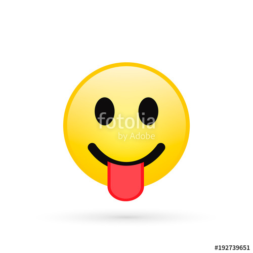 500x500 Smile Emoji Isolated On White Background, Smiling Face With Stuck