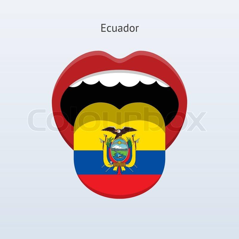 800x800 Ecuador Language. Abstract Human Tongue. Vector Illustration