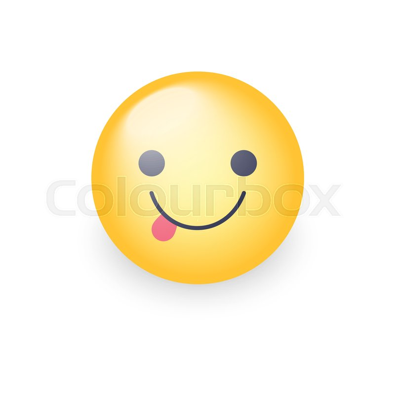 800x800 Emoticon Face With Stuck Out Tongue. Cute Cartoon Happy Emoji