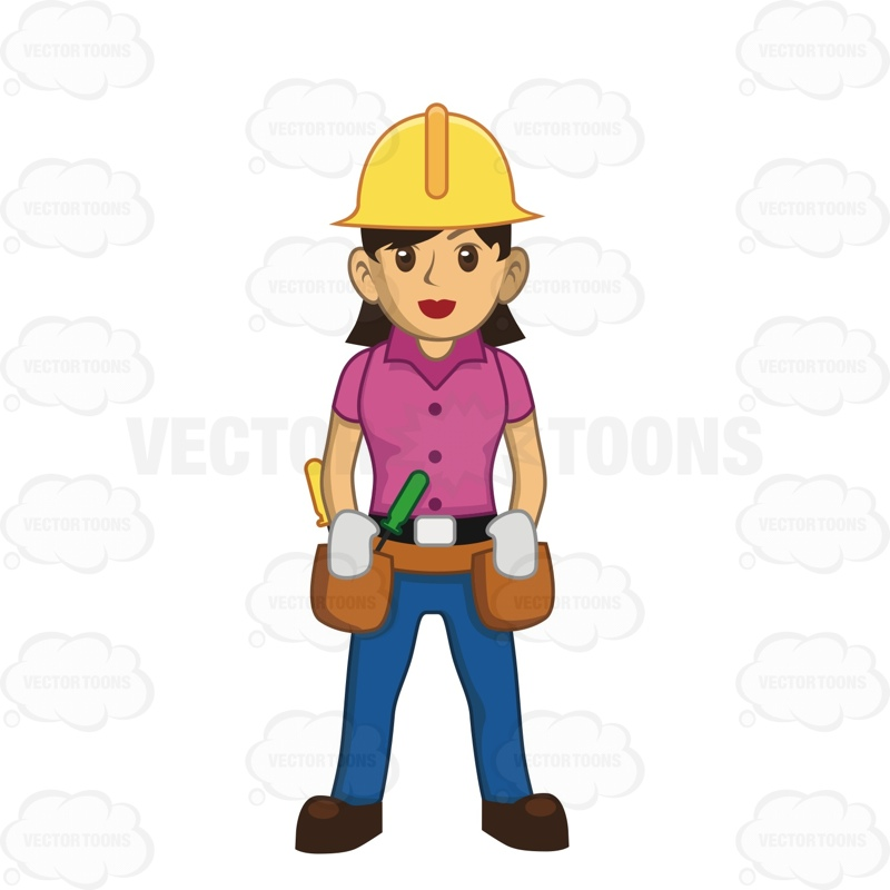 800x800 Female Construction Worker With Hard Hat And Tool Belt Clipart