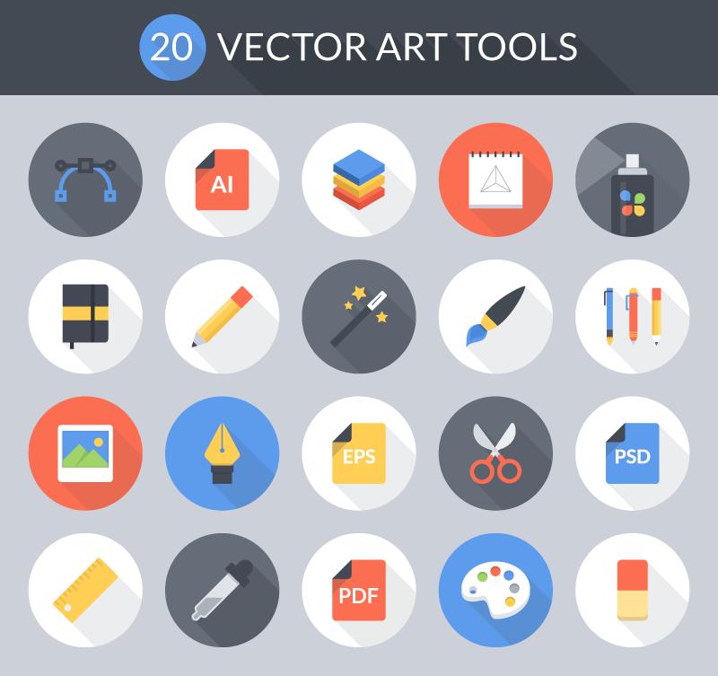 800x753 Freebie Flat Vector Art Tools Icon Set