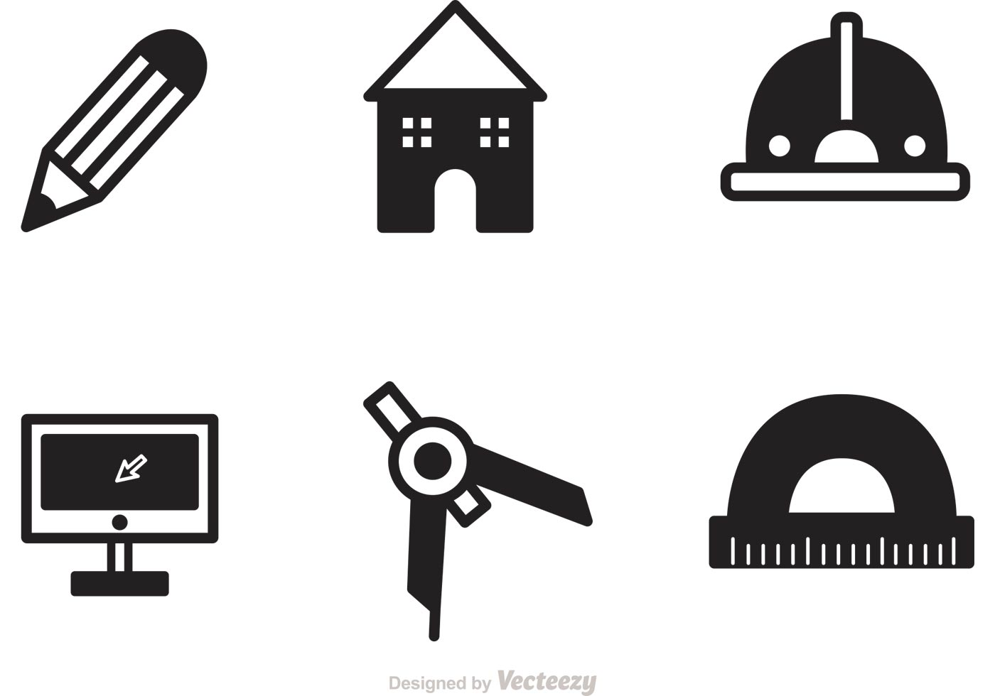 1400x980 Black Architecture Tools Icons Vector