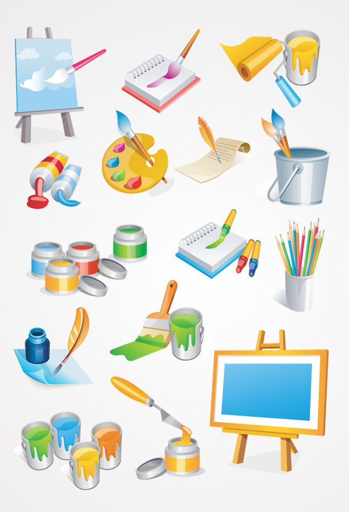680x996 Free Painter Tools Vector Icons Paint Brush Amp Painting Canvas