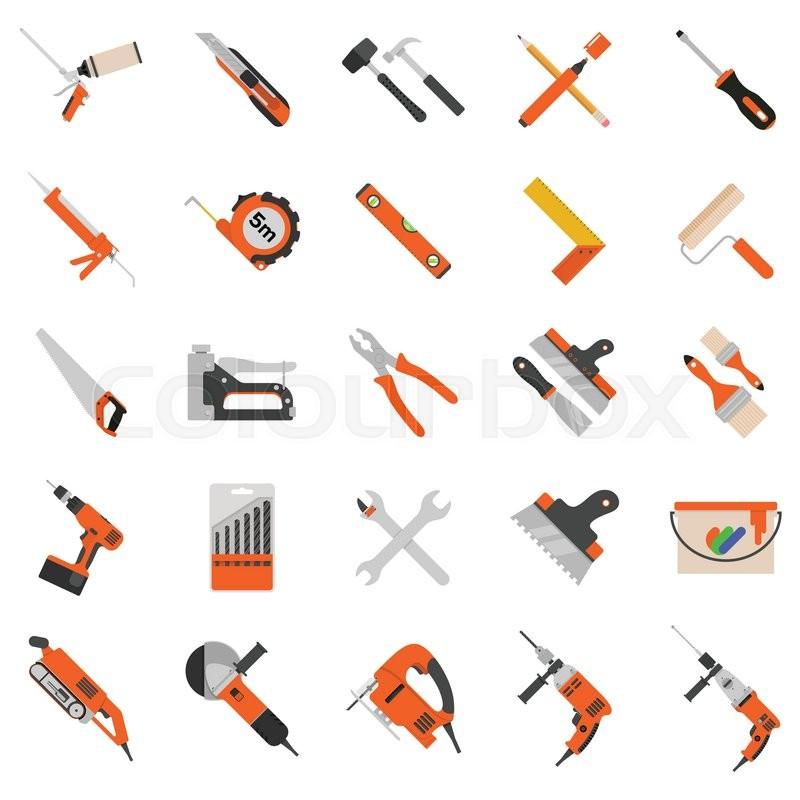 800x800 Home Repair Tools Vector Icons. Working Repair Tools For Repair