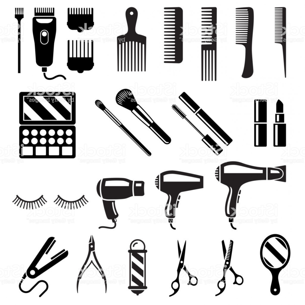 1228x1228 Set Of Beauty Salon Tools Vector Illustrations Gm Rongholland