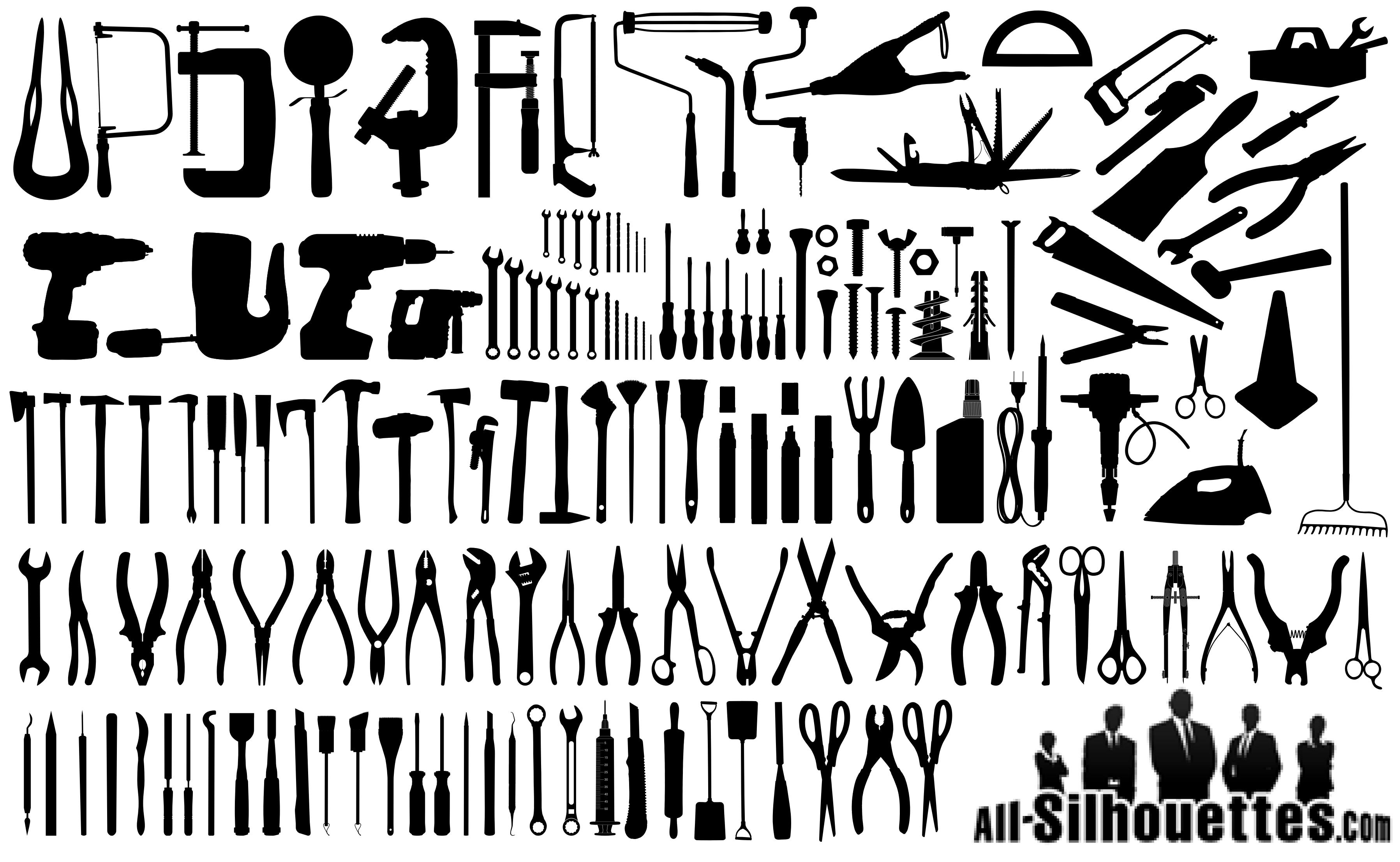 3594x2213 Tools, Instruments And Equipment Silhouettes Pngampsvg Download