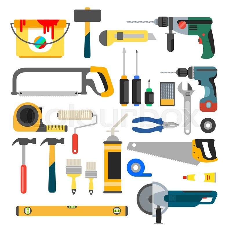 800x800 Working Tools Vector Set. Tools For Repair And Construction. Hand