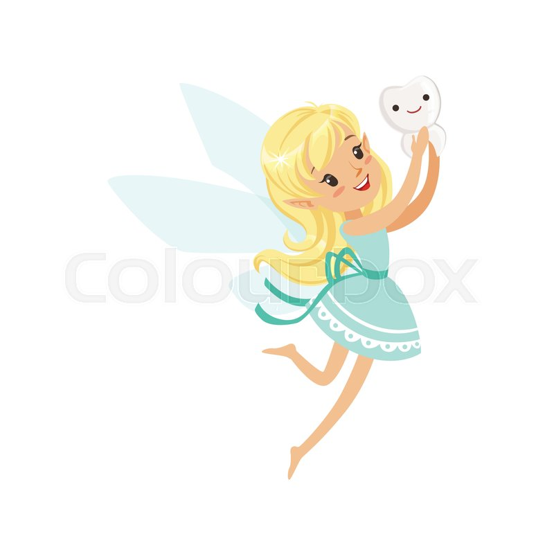 800x800 Cute Cartoon Blonde Tooth Fairy Girl Flying With Tooth Colorful