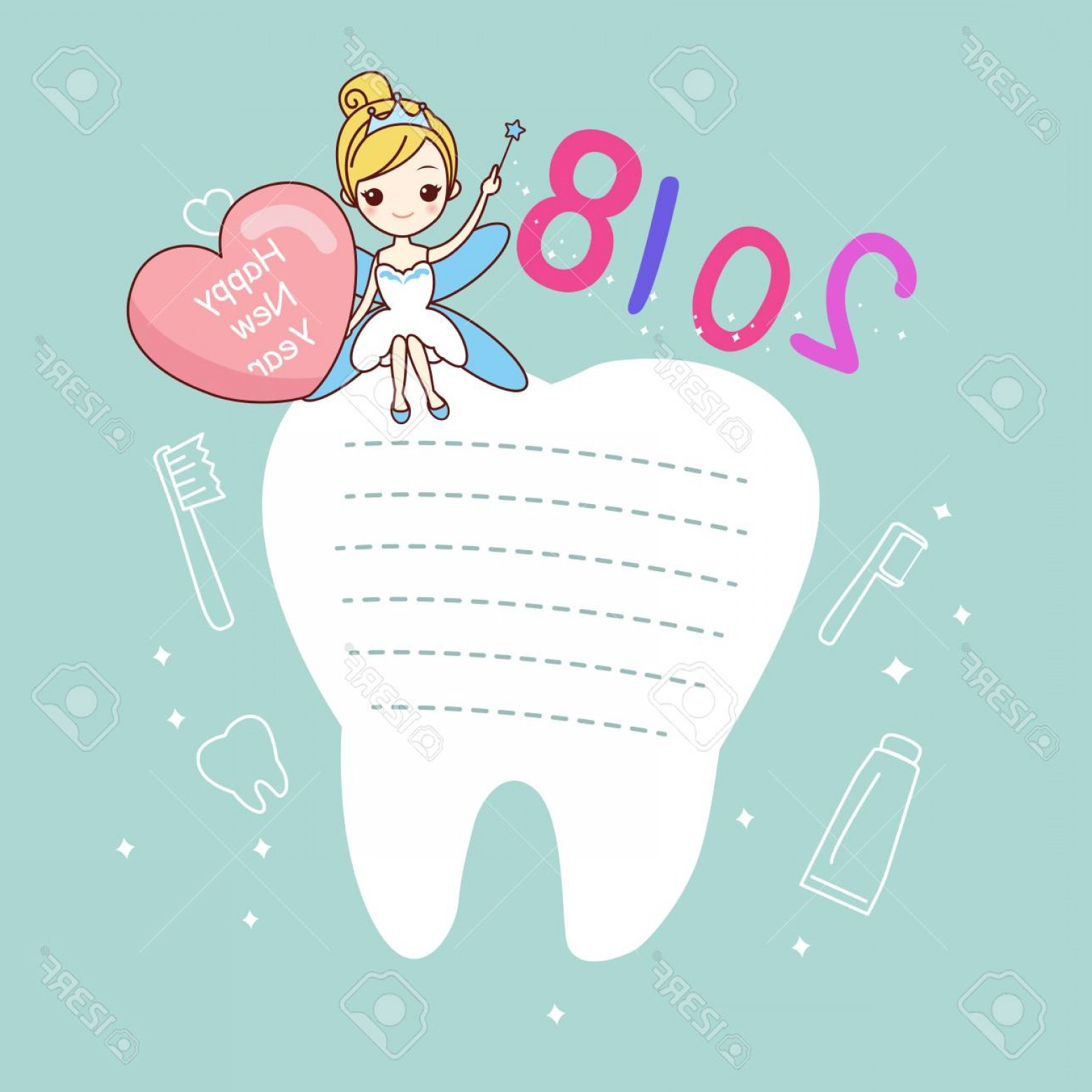 1560x1560 Photostock Vector Cute Cartoon Tooth Note With Tooth Fairy