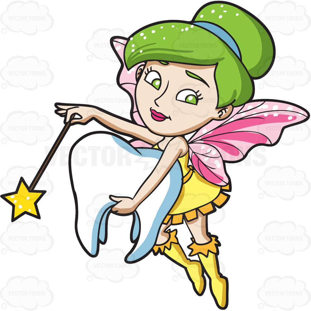 1021x1024 A Fairy Grabbing A Tooth Clipart By Vector Toons
