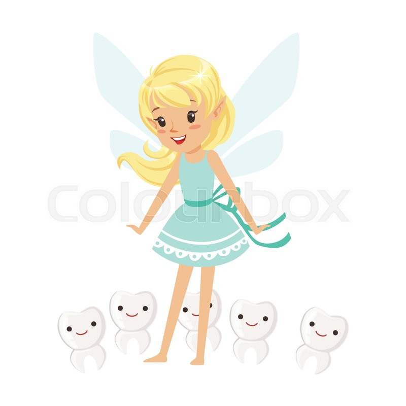 800x800 Beautiful Sweet Blonde Tooth Fairy Girl Standing Surrounded By