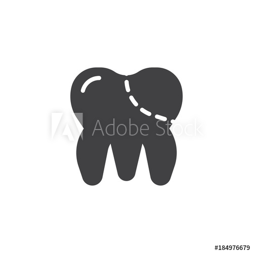 500x500 Molar Tooth Icon Vector, Filled Flat Sign, Solid Pictogram