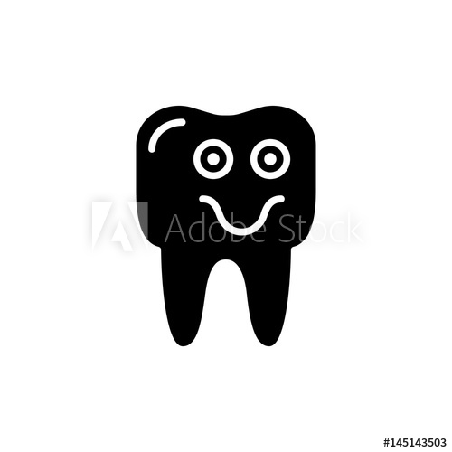 500x500 Outline Smile Tooth Icon Vector Illustration On White Background