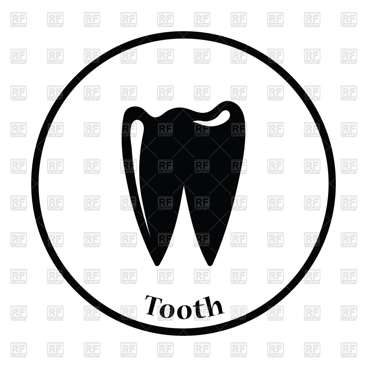 1200x1200 Thin Circle Design Of Tooth Icon Vector Image Vector Artwork Of