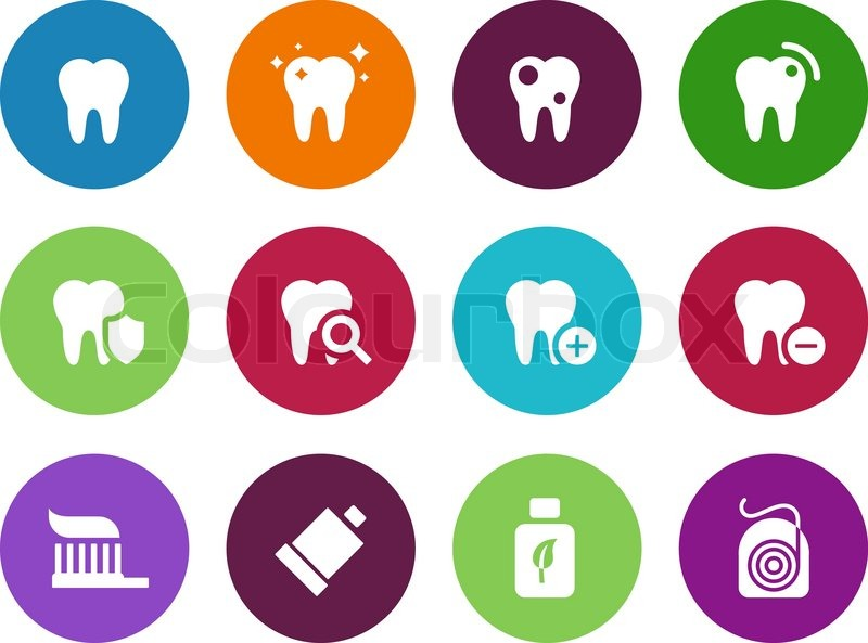 800x593 Tooth, Teeth Circle Icons On White Background. Vector Illustration