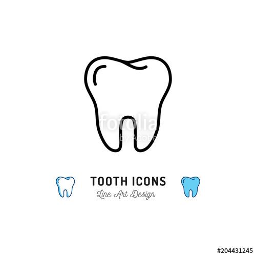500x500 Tooth Icon, Teeth Sign. Dental Care Logo, Dental Clinic Line Icon