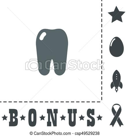 450x470 Tooth Icon. Flat Symbol. Simple Tooth. Simple Flat Symbol Icon On