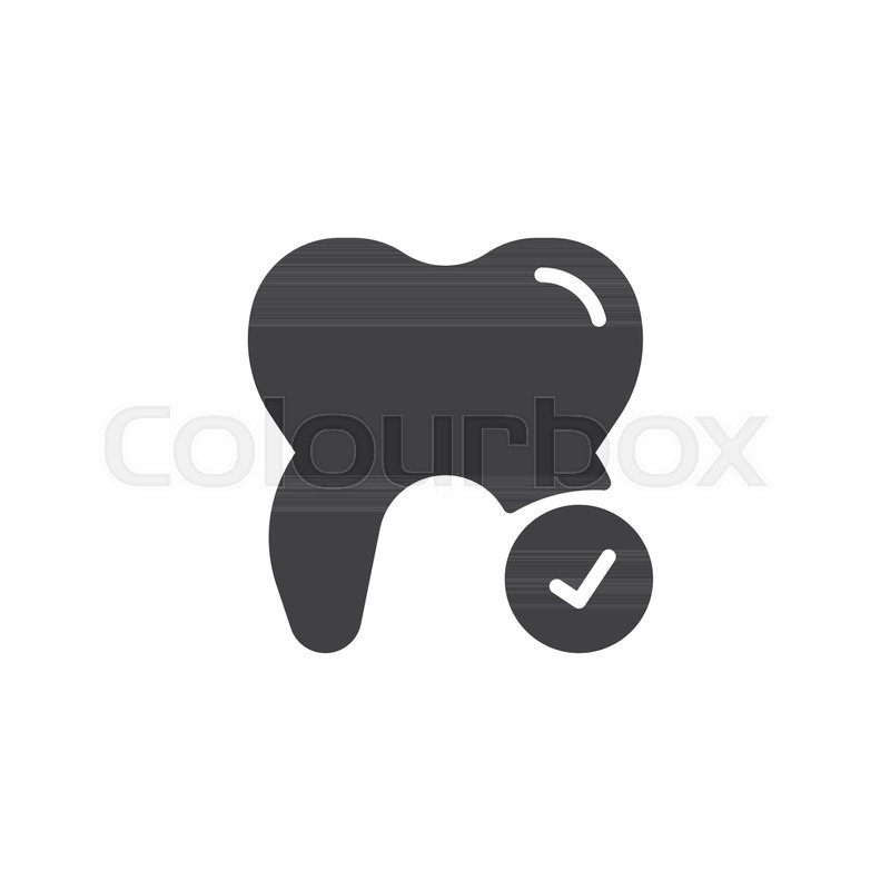 800x800 Check Tooth Icon Vector, Filled Flat Sign, Solid Pictogram
