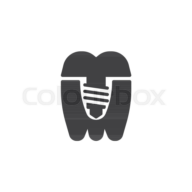 800x800 Dental Implant Tooth Icon Vector, Filled Flat Sign, Solid
