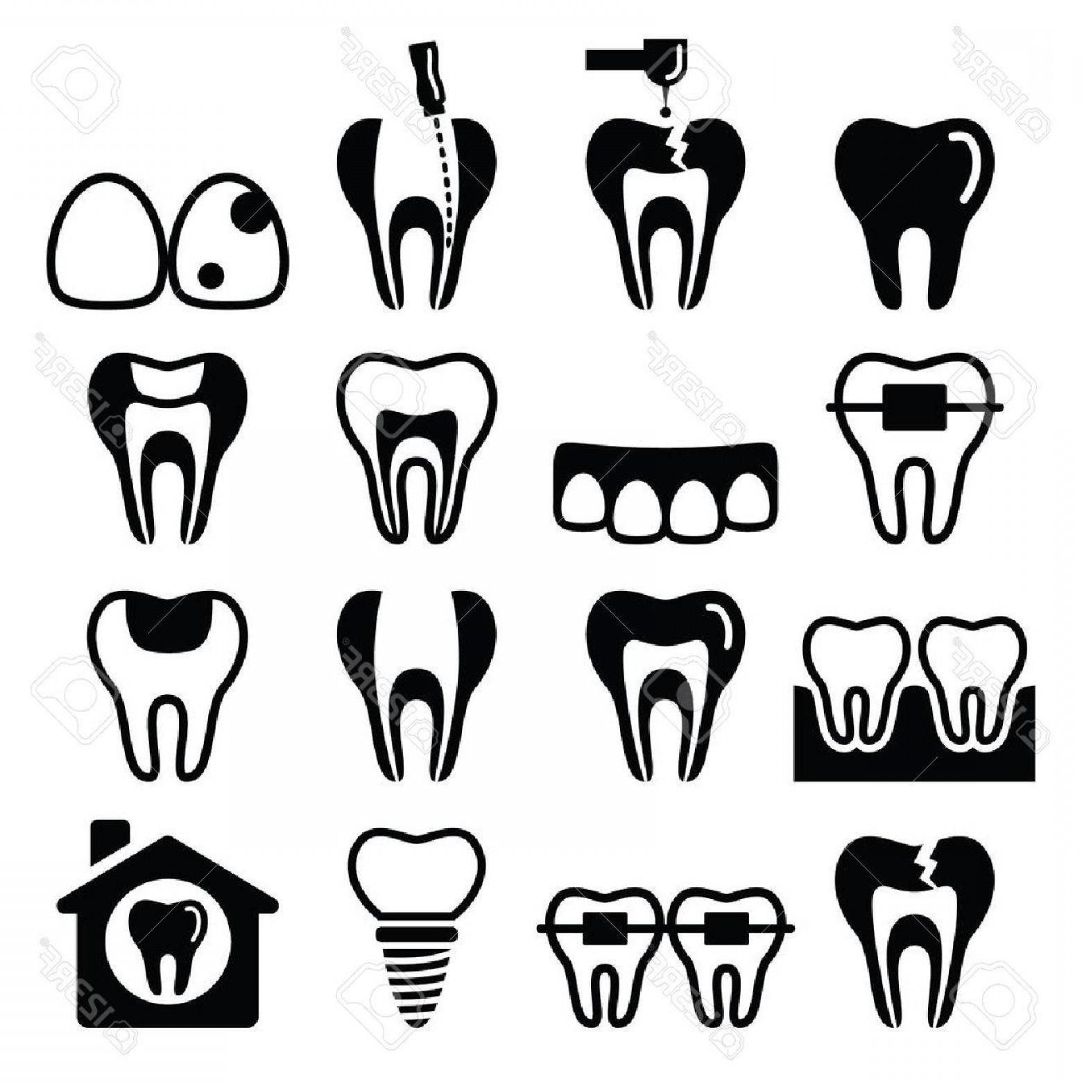 1560x1560 Photostock Vector Tooth Teeth Dental Clinic Vector Icons Set