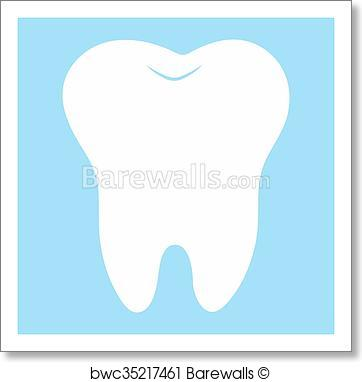 362x382 Art Print Of Cartoon Tooth, White On A Blue Background, Teeth