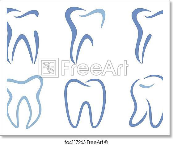 560x470 Free Art Print Of Vector Teeth. Set Of Abstract Teeth, Vector