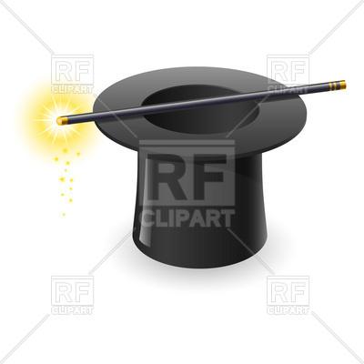 400x400 Magic Wand And Black Top Hat Vector Image Vector Artwork Of