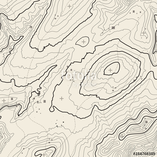 500x500 Seamless Pattern. Topographic Map Background With Space For Copy