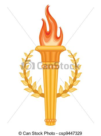 349x470 Greek Olympic Torch With Golden Crown Of Laurels. Olympics Games