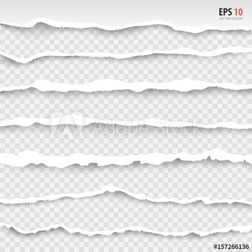500x500 Torn Paper Edges, Horizontally, Vector. Realistic Torn Papers With