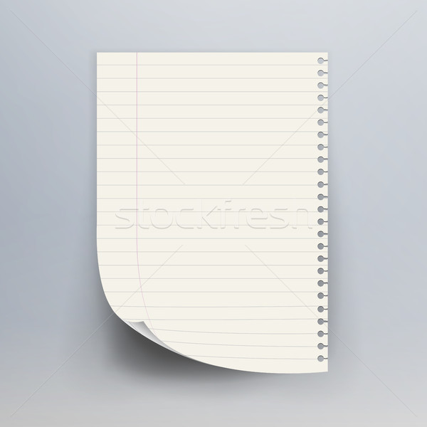 600x600 Notebook Paper With Torn Edge Vector Illustration. Realistic