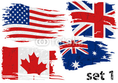 400x283 Torn Flag Usa, Great Britain, Canada And Australia