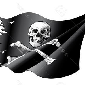 300x300 Waving Pirate Flag Skull And Bones Vector Rongholland