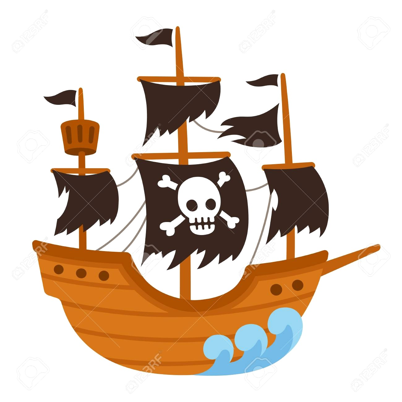 1300x1300 97530382 Cartoon Pirate Ghost Ship Illustration With Skull Flag