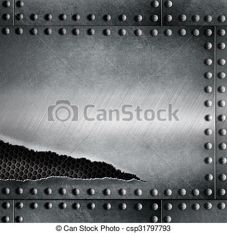 450x463 Rip Metal Armour Background Template. Torn Metal Armour... Stock