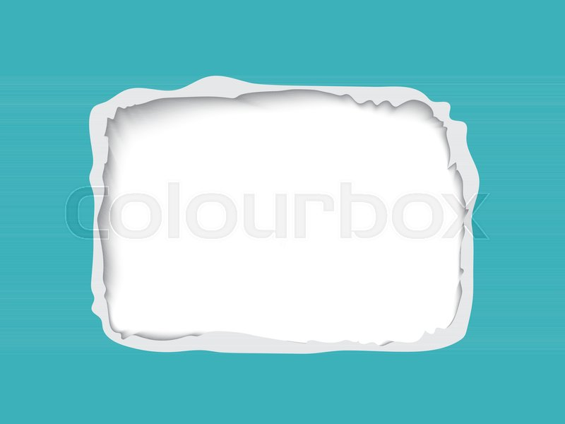 800x600 Torn Paper Frame For Text, Realistic Vector Paper With Hole And